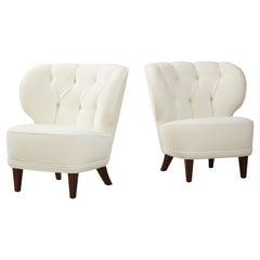 Carl-Johan Boman Rare Pair of Ivory Velvet Tufted Easy Chairs