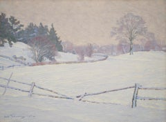 Impressionist Winter Landscape by Carl Johansson, Oil on Canvas, Impressionism