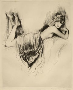 """Greta Garbo,"" Carl Joseph Bauer, etching, Art Deco, Hollywood, ca 1920-30"