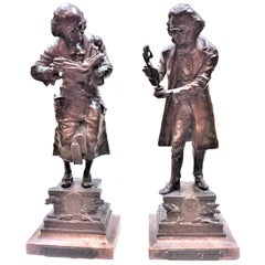 Carl Kauba, Bookworm & Art Connoisseur, a Pair of Bronze Sculptures, circa 1910