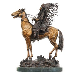 "Carl Kauba Bronze Sculpture, ""Indian Chief on Horseback"""