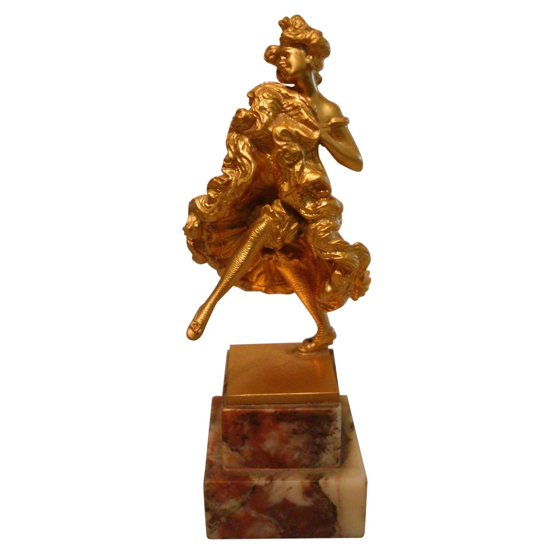 Carl Kauba Bronze Sculpture / Paperweight of a Cancan Dancing Lady Vienna