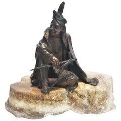 Carl Kauba, Native American with Tomahawk, Vienna Bronze, 19th Century