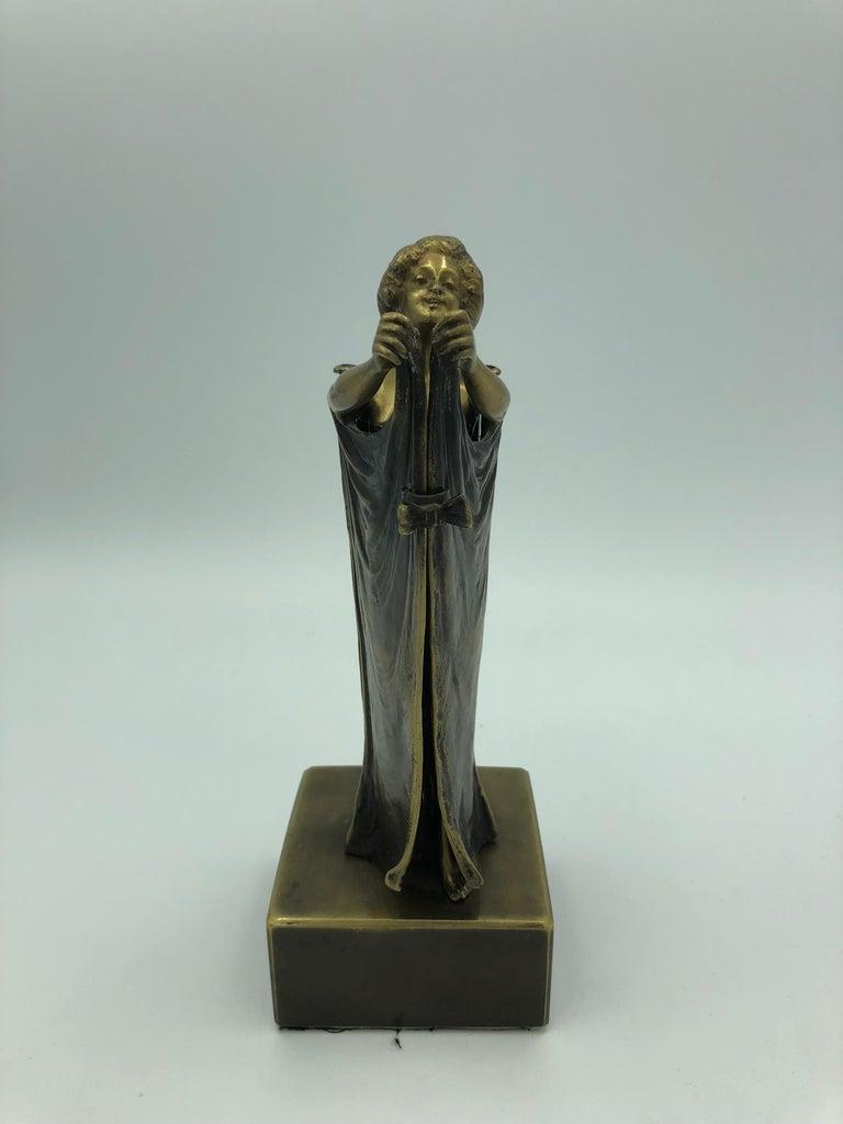 Open Sesame (Mechanical Bronze) - Gold Figurative Sculpture by Carl Kauba