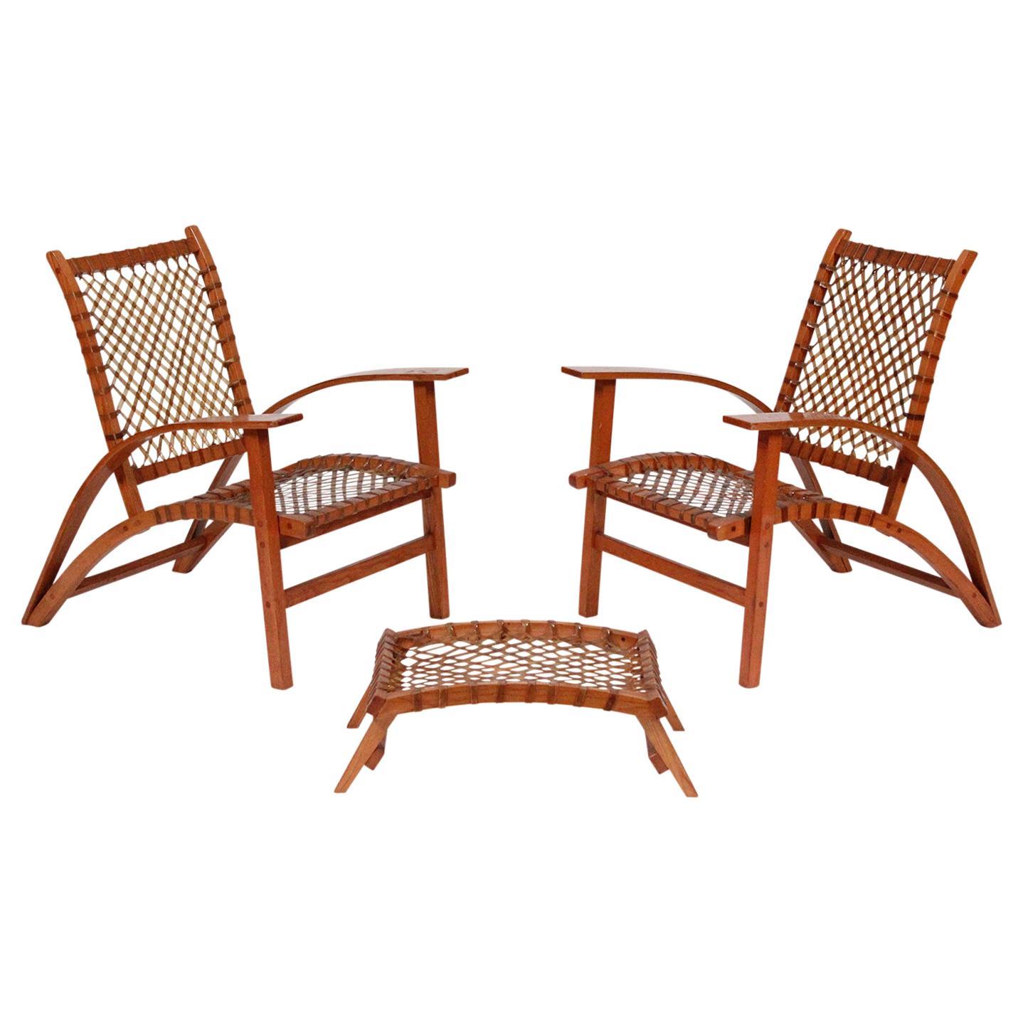 "Carl Koch for Tubbs ""Sno Shu"" Lounge Chairs and Ottoman"