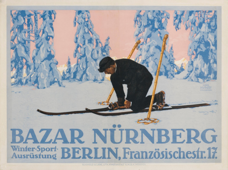 """Bazar Nurnberg"" Original Antique Ski Poster"