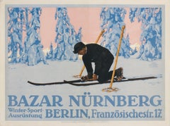 """Bazar Nurnberg"" Original Antique Ski Poster"