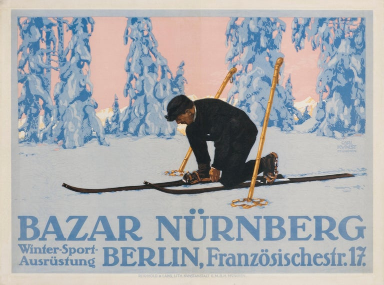 """""""Bazar Nurnberg"""" Original Antique Ski Poster - Print by Carl Kunst"""
