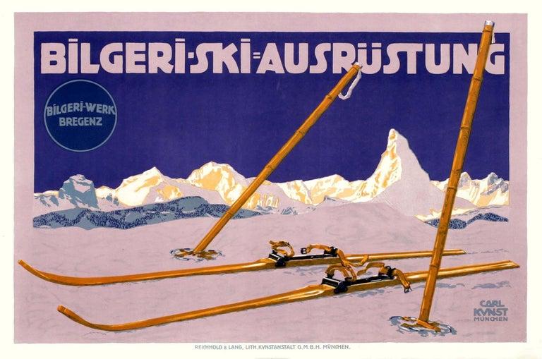 """""""Bilgeri-Ski"""" Original Antique Ski Poster - Print by Carl Kunst"""