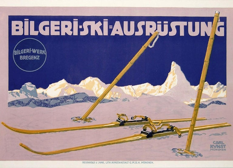Original antique skiing poster for Bilgeri Werk Bregenz featuring an image of wooden skis and poles in the snow in front of the Alps along the horizon dominated by the Matterhorn mountain peak over Zermatt Switzerland. Bilgeri, the Austrian
