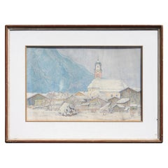 "Carl Link '1887-1968' ""Mittenwald-Bayerische Alpen"" Watercolor"