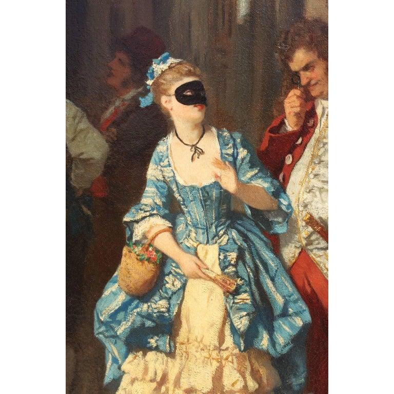 Romantic Carl Ludwig Friedrich Becker 'German, 1820-1900' Oil on Canvas Venetian Carnival For Sale
