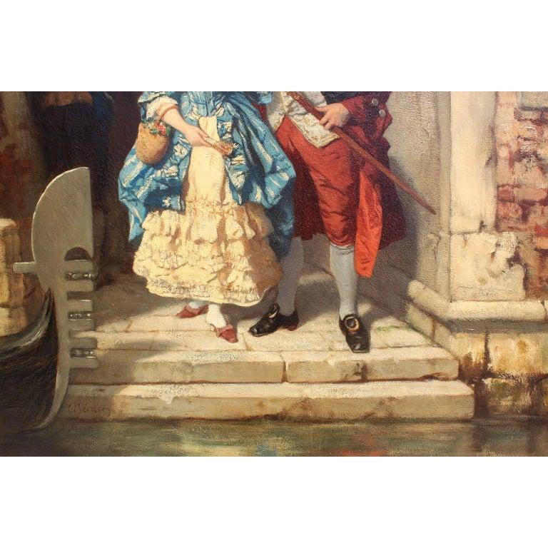 Carved Carl Ludwig Friedrich Becker 'German, 1820-1900' Oil on Canvas Venetian Carnival For Sale