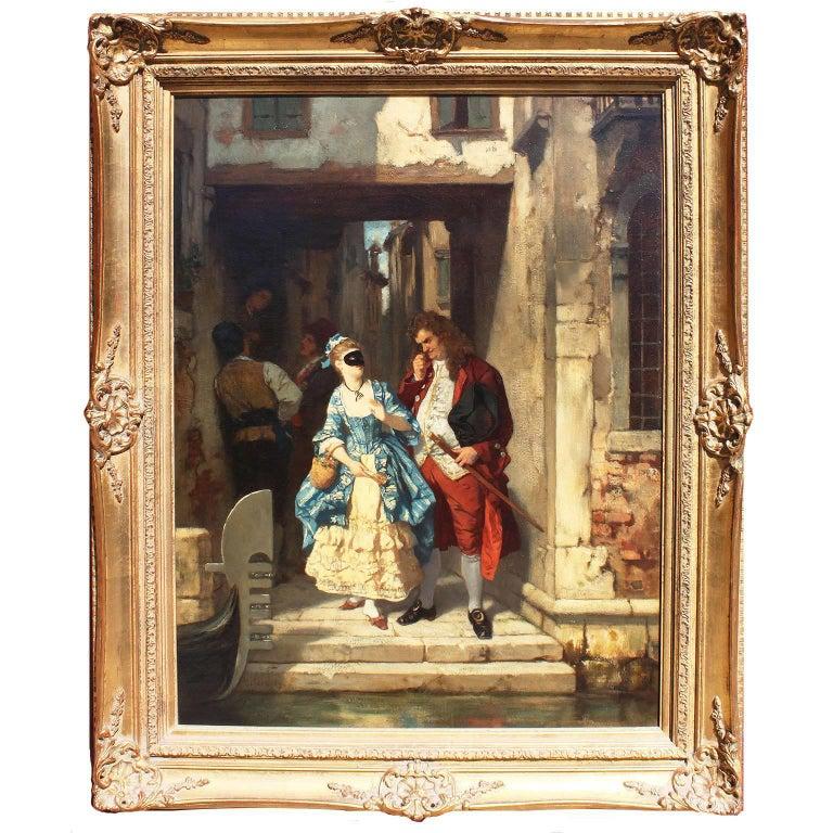 Carl Ludwig Friedrich Becker 'German, 1820-1900' Oil on Canvas Venetian Carnival For Sale