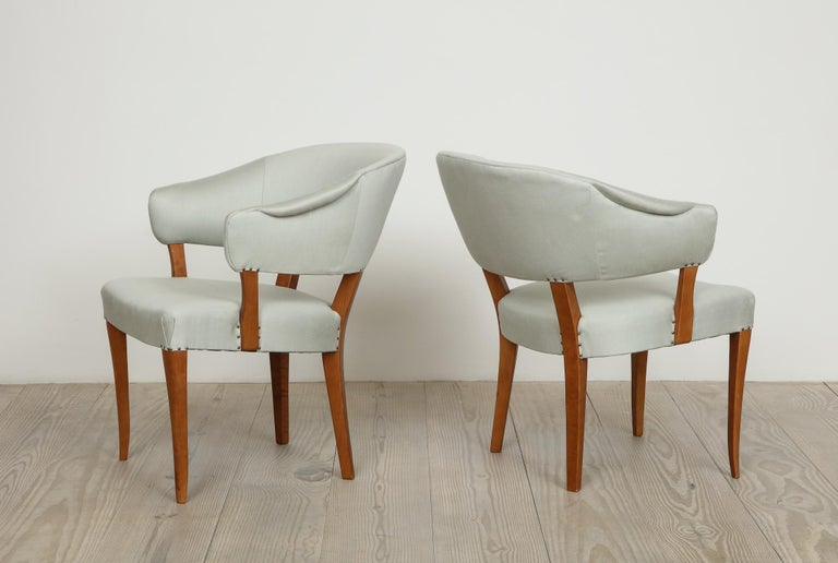 Swedish Carl Malmsten, Lata Greven Klismos Style Armchairs, Pair For Sale