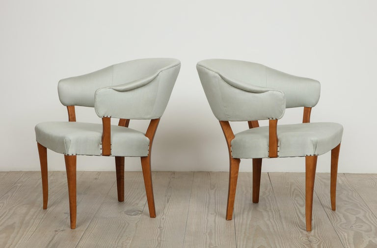 Carl Malmsten, Lata Greven Klismos Style Armchairs, Pair In Excellent Condition For Sale In New York, NY