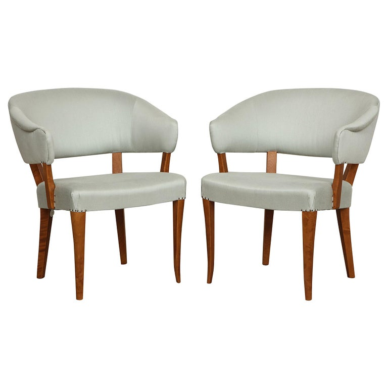 Carl Malmsten, Lata Greven Klismos Style Armchairs, Pair For Sale