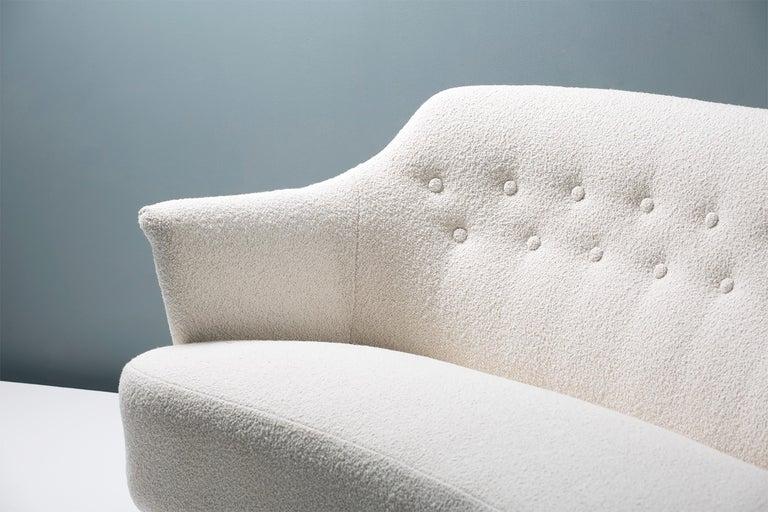 Scandinavian Modern Carl Malmsten 1940s Vintage Boucle Sofa For Sale