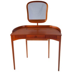 "Carl Malmsten ""Brigitta"" Vanity, Mahogany Table with Mirror, Sweden, 1964"
