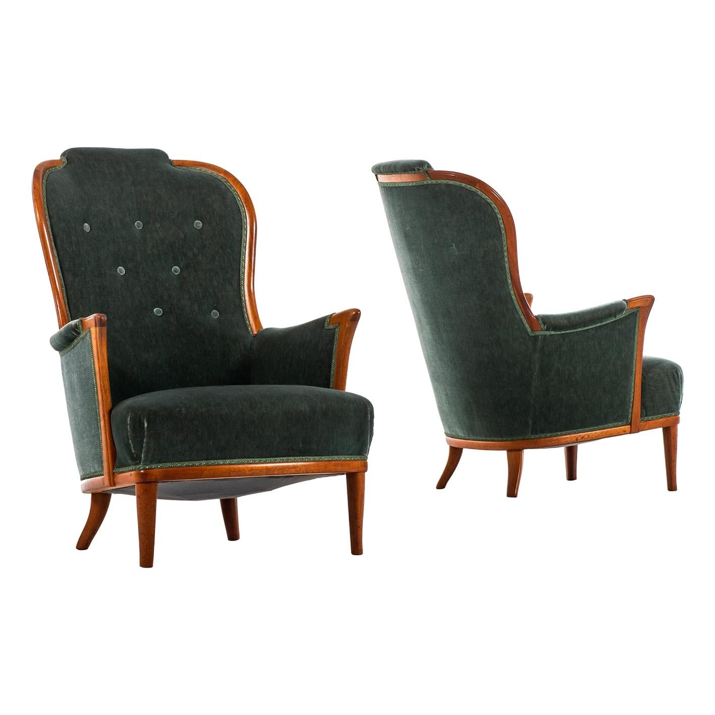 Carl Malmsten Easy Chairs Model Vår Fru Produced by Bodafors in Sweden