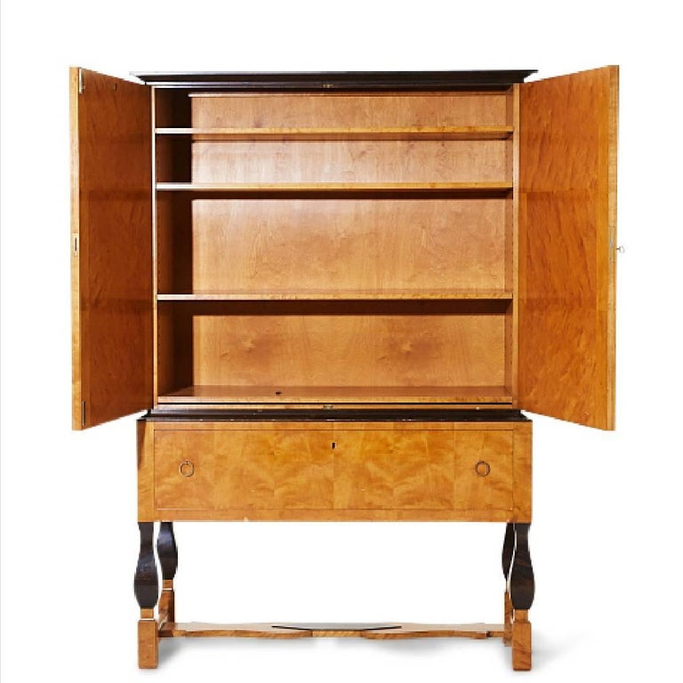 Early 20th Century Carl Malmsten for Nordiska Kompaniet, Birch Cabinet from 1920s For Sale