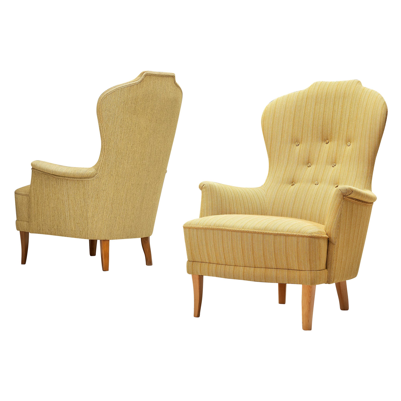 Carl Malmsten for O. H. Sjögren Lounge Chairs Model 'Farmor'