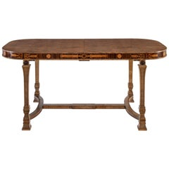 Carl Malmsten for SMF, Swedish Birch, Rosewood & Marquetry Writing/Dining Table