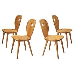 Carl Malmsten for Svensk Fur Set of Four 'Sörgården' Dining Chairs in Solid Pine