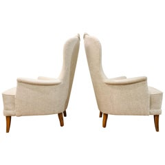 Carl Malmsten Model 'Farmor' Set of 2 Lounge Chairs Scandinavian Midcentury