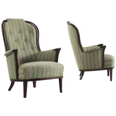 Carl Malmsten Pair of Lounge Chairs with Original Upholstery
