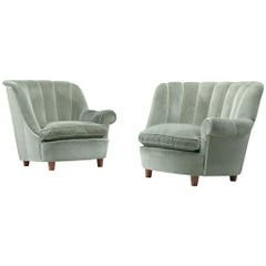 "Carl Malmsten ""Redet"" Easy Chairs in Soft Mint Velvet"