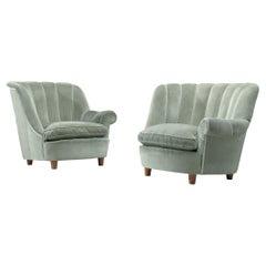 """Carl Malmsten """"Redet"""" Easy Chairs in Soft Mint Velvet"""