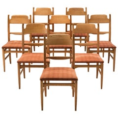 Carl Malmsten Set of Eight Dining Chairs in Beech and Orange Fabric
