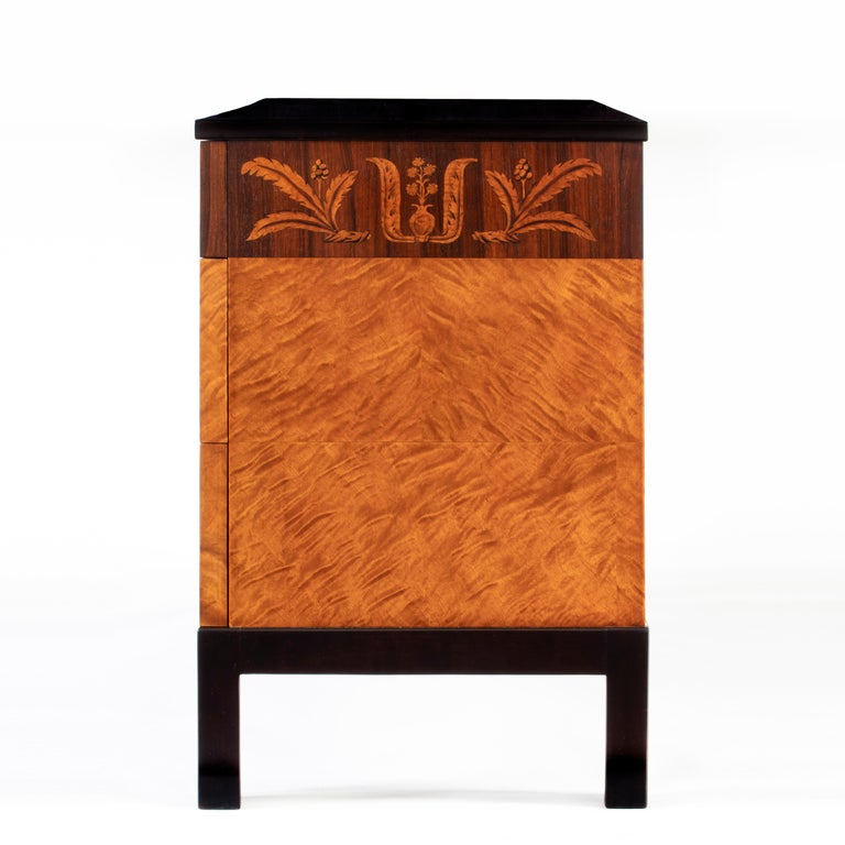 Art Deco Carl Malmsten, Swedish Grace Period Flame Birch & Rosewood Three-Drawer Commode For Sale