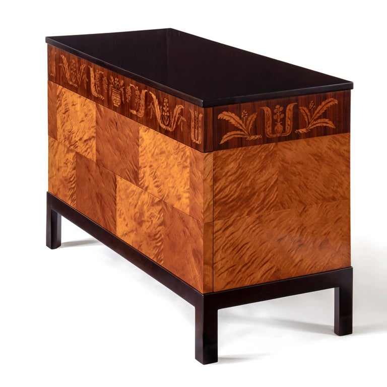 Carl Malmsten, Swedish Grace Period Flame Birch & Rosewood Three-Drawer Commode In Good Condition For Sale In Philadelphia, PA