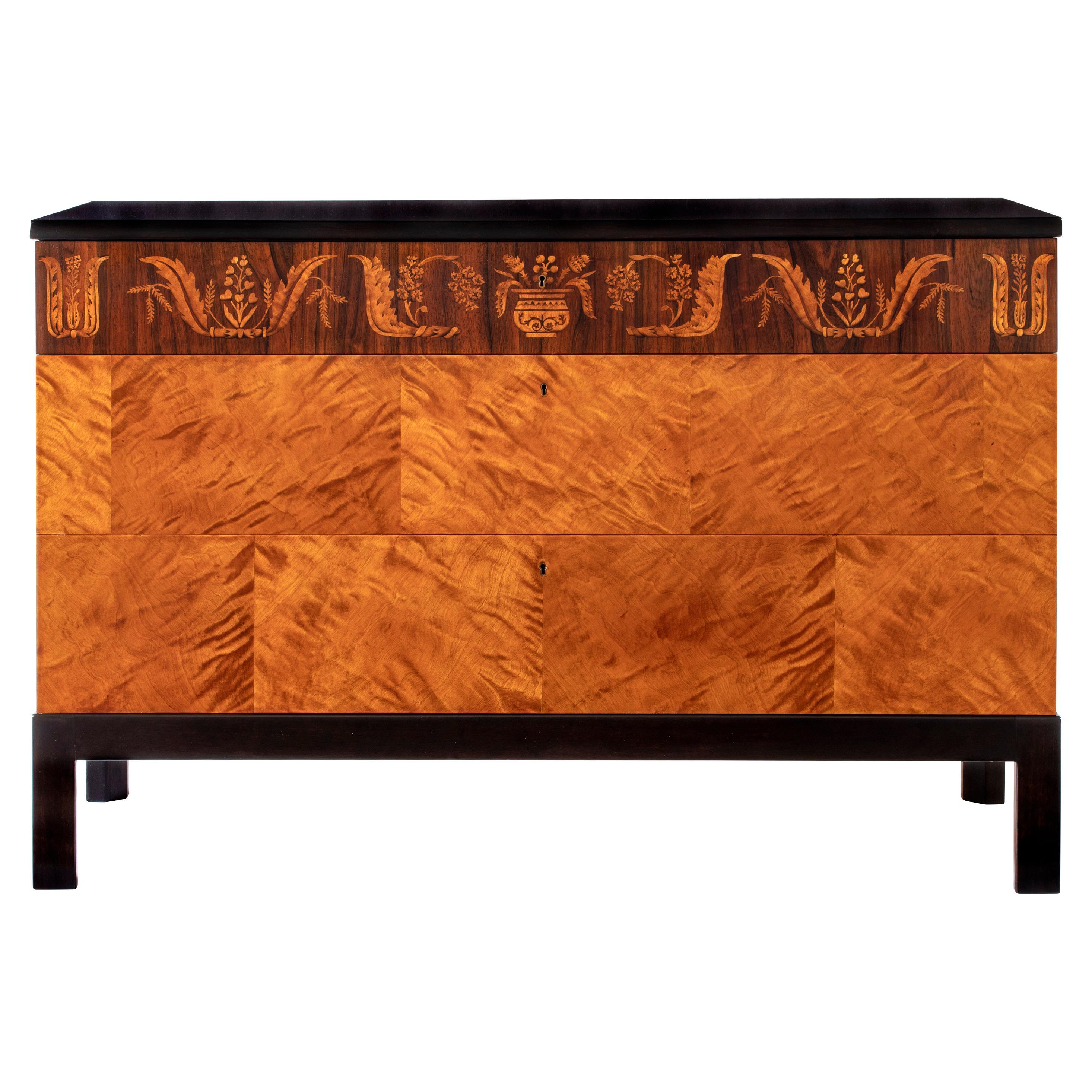 Carl Malmsten, Swedish Grace Period Flame Birch & Rosewood Three-Drawer Commode