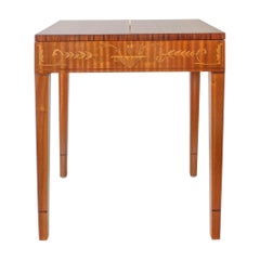 Carl Malmsten, Swedish Satinwood, Rosewood and Marquetry Side / Sewing Table