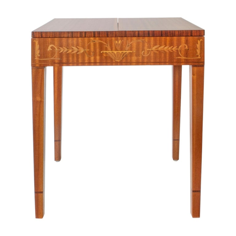 Carl Malmsten, Swedish Satinwood, Rosewood and Marquetry Side / Sewing Table For Sale