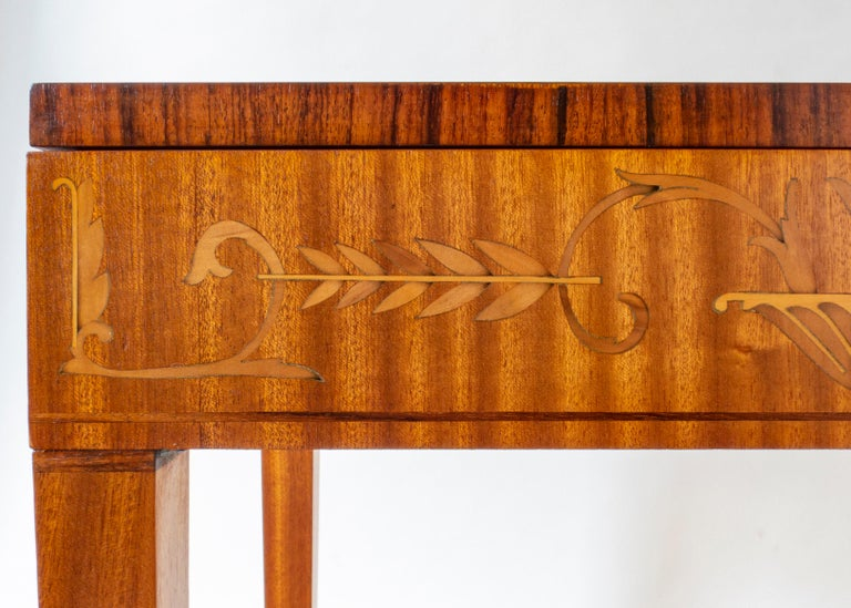Art Deco Carl Malmsten, Swedish Satinwood, Rosewood and Marquetry Side / Sewing Table For Sale
