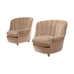"Carl Malsten Pair of ""Redet"" Easy Chairs in Soft Beige Velvet"