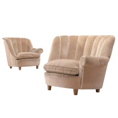 """Carl Malsten Pair of """"Redet"""" Easy Chairs in Soft Beige Velvet"""