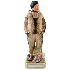Carl Martin-Hansen: Porcelain Figure of Male in National Dress, Greenland