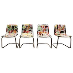 Carl Ojerstam Chairs Painted in Graffiti Tapestry Style by Artist Lionel Lamy