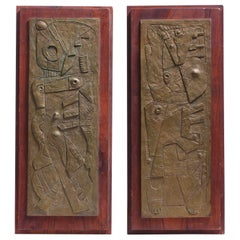 Carl Pappe Signed Cubist Bronze Plaques Mounted on Walnut Dated 1971