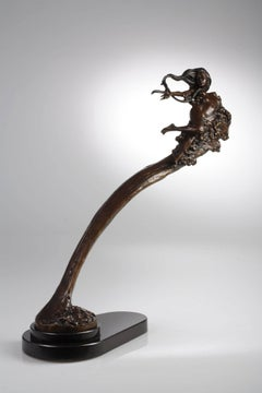 Nude Brown Bronze Figurative Sculpture 'Dreaming' by Carl Payne