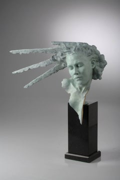 Solid Bronze Greek Mythology Sculpture by Carl Payne 'Sunburst Mask'