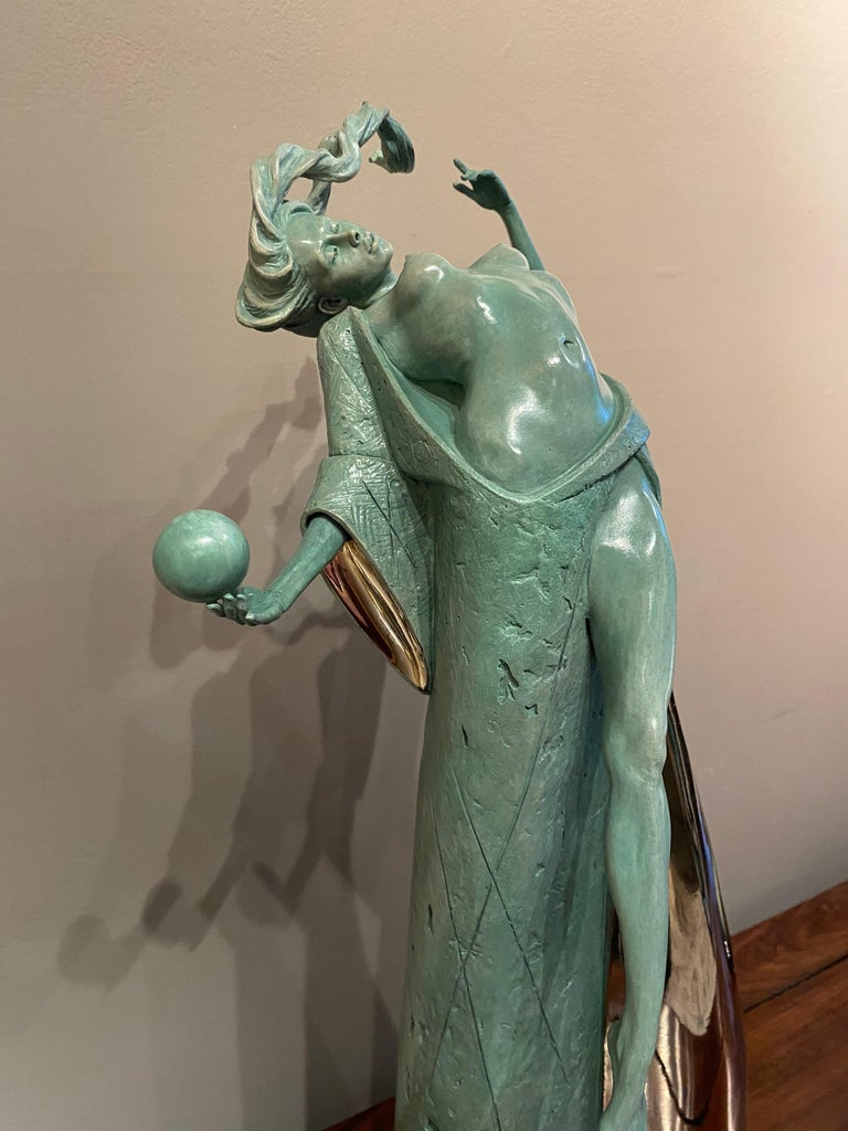 'Temptation' Figurative, Nude Bronze Sculpture of Mythical Goddess. Green Patina For Sale 1