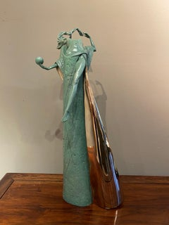 'Temptation' Figurative, Nude Bronze Sculpture of Mythical Goddess. Green Patina