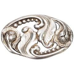 Carl Poul Petersen Sterling Silver Oval Flower Pin or Brooch