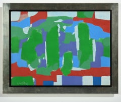 """Riviera"" Abstract Oil Painting in Primary Colors of Red & Green & Blue"